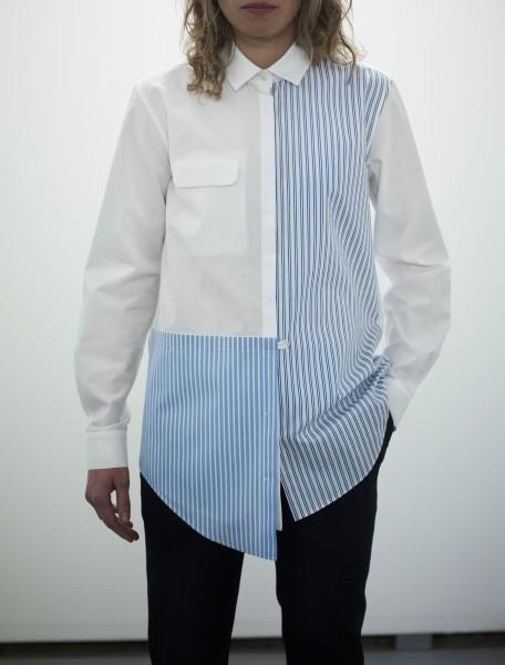 Blouse Women Patch Striped White Blue