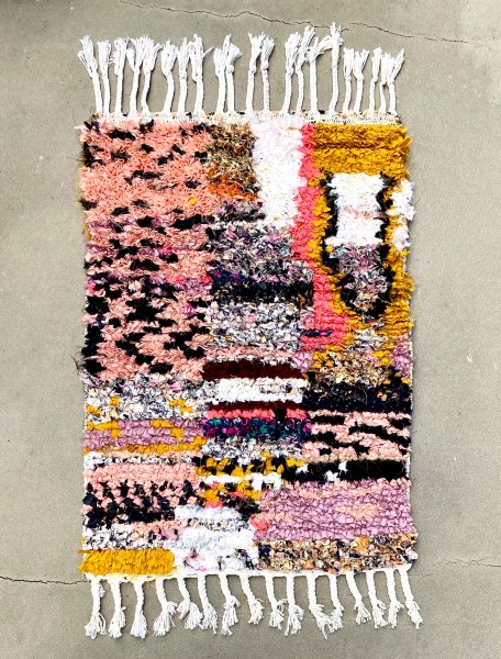 Boucharouite Rug Small Black Gold Pink